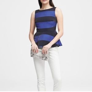 BANANA REPUBLIC Petites Blue Stripe Peplum Blouse